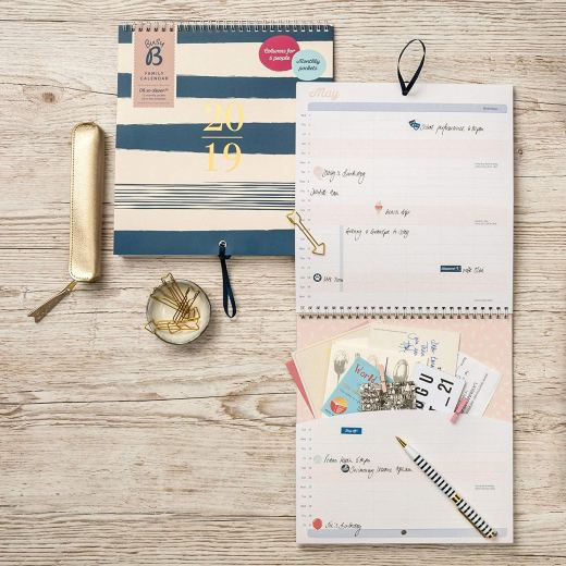 Busy B 2019 Pretty Family Calendar with 12 Monthly Pockets/Stickers/Ribbon Loop