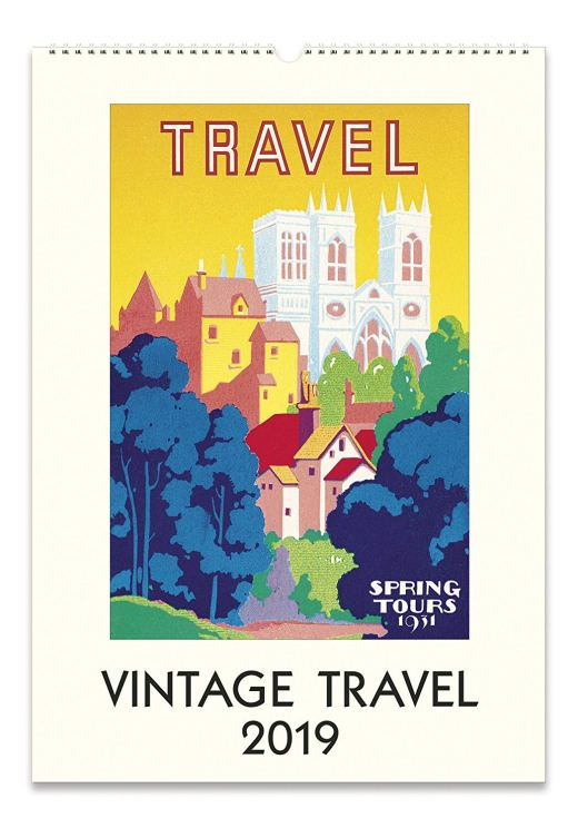 Cavallini Papers & Co. 2019 Vintage Travel Wall Calendar, Multicolor
