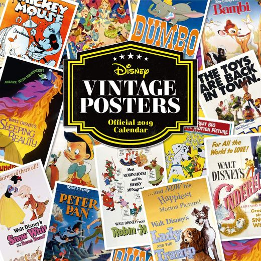 Step back in time with this charming Disney calendar for 2019, filled with stunning vintage posters from classic films. The calendar features posters from the adorable films we grew up with, such as Alice in Wonderland, Dumbo, Pinnochio, and many more. We understand that modern life can be stressful, so we have added a handy date list on each page to ensure you keep yourself organised in 2019. The perfect gift for family and friends this Christmas. • Includes illustrations from popular Disney films • Month to view • Approx. Dimensions (mm) H 305 W 305 D 4