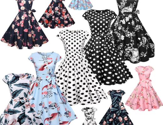Vintage Dress 50s 60s Retro Style Rockabilly Pinup Housewife Party Swing Tea