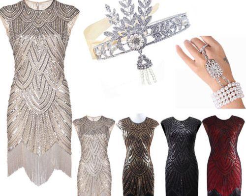 Vintage 1920s Flapper Dress Great Gatsby Sequins Fringeds Cocktail Party Dresses