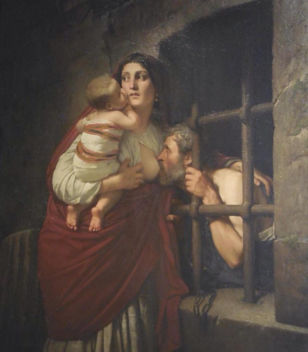 Babasını emziren kadın tablosu