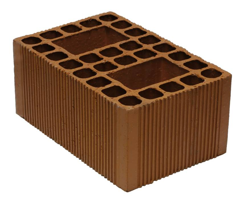 How many stacked red bricks go into a square meter?